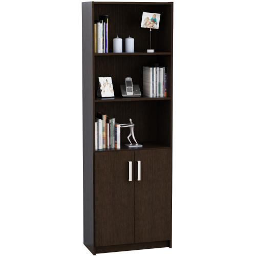 Biblioteca elegance con 2 puertas color wengue en garbarino for Muebles bibliotecas para living