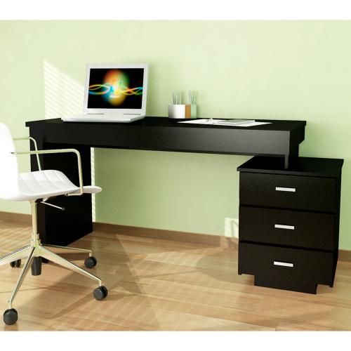 Escritorio londres con 3 cajones color negro en garbarino for Planos de escritorios