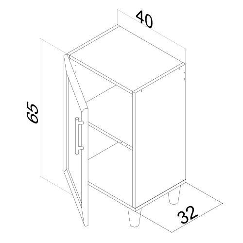 Modulo Organizador De 2 Estantes Y Puerta Apto Para