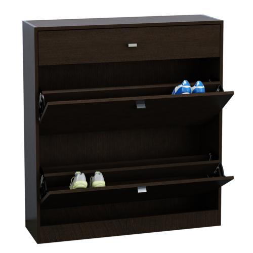 Mueble botinero con caj n para 18 pares de zapatos wengue for Muebles para zapatos baratos