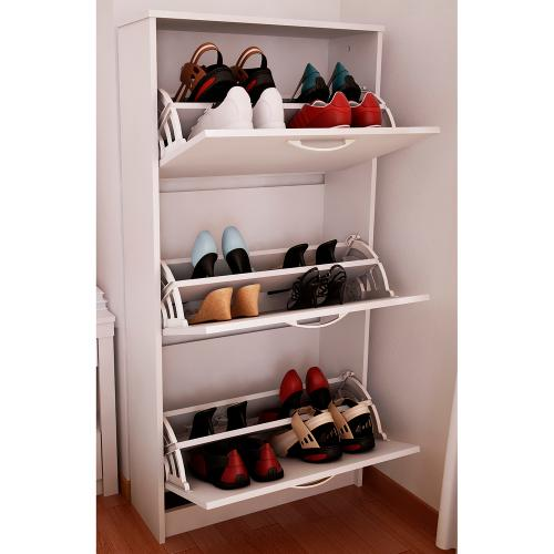 mueble botinero para 18 pares de zapatos color blanco en