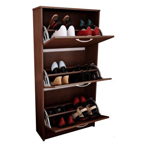 Mueble botinero para 18 pares de zapatos color tabaco en for Zapatero para 30 pares de zapatos