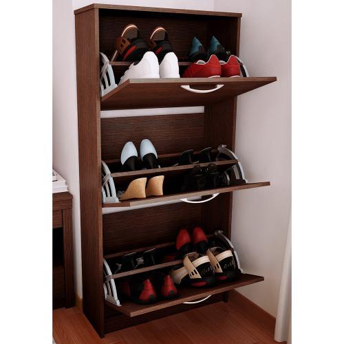 mueble botinero para 18 pares de zapatos color tabaco en