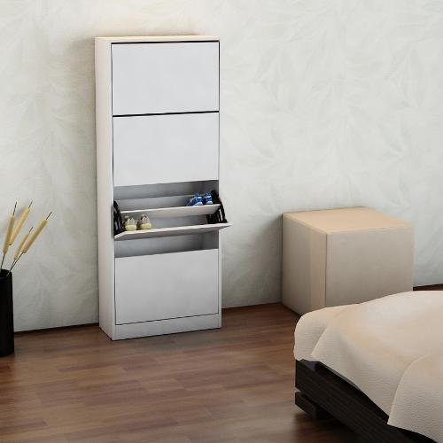 mueble botinero para 24 pares de zapatos color blanco en