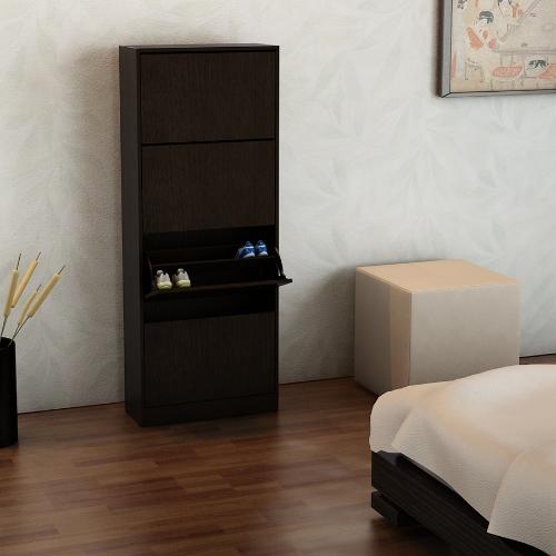 Mueble botinero para 24 pares de zapatos color wengue en garbarino