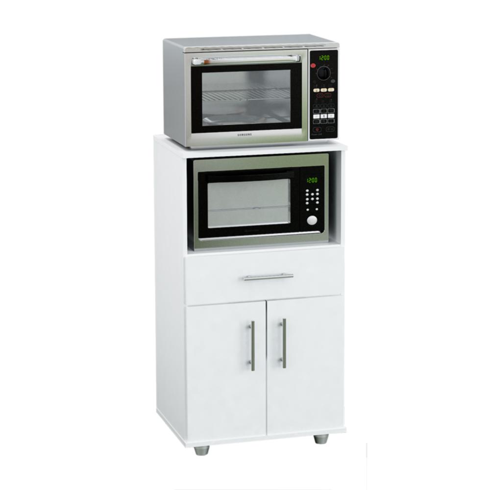 Mueble para microondas de melamina blanco g11bl en garbarino for Mueble cocina microondas