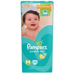 Pack Pampers Confort Sec Medianos de 52 Pañales