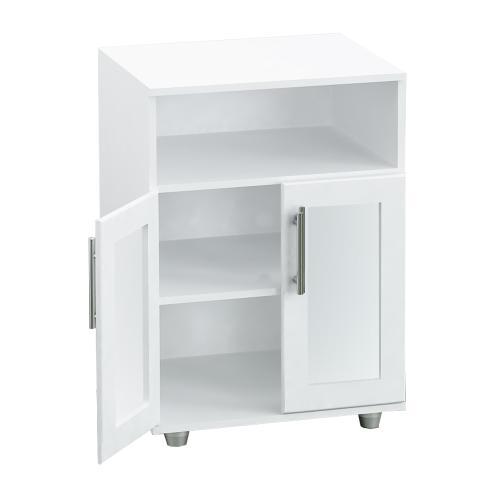 Rack para microondas con puertas traslucidas color blanco for Mueble cocina microondas