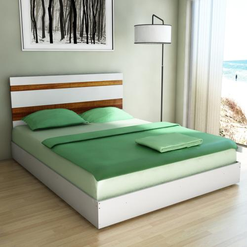 Respaldo de cama blanco y teka para camas 2 plazas a for Tipos de camas de 2plazas